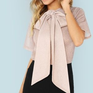 Tops - Gold Mesh Bow Tie Blouse